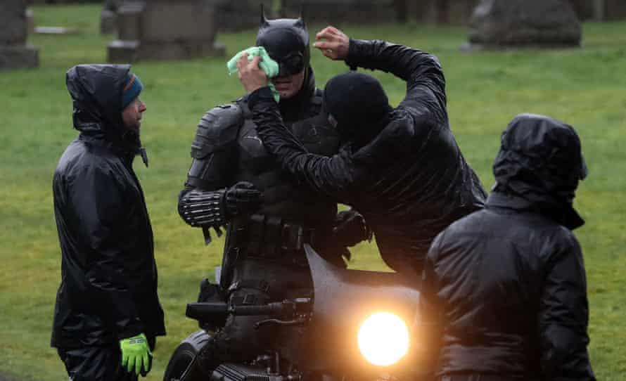 Filming The Batman in Glasgow's Necropolis cemetery.