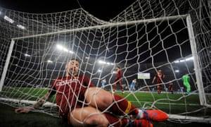 Roma's Aleksandar Kolarov in the back of the net after failing to stop Felipe Caicedo's opener crossing the line.