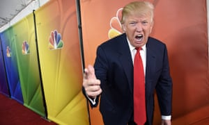 Donald Trump shows off yet another long red tie as he attends the NBC winter TCA press tour in Pasadena, California, on 16 January 2015