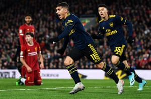 Lucas Torreira of Arsenal celebrates after scoring his team's equaliser.