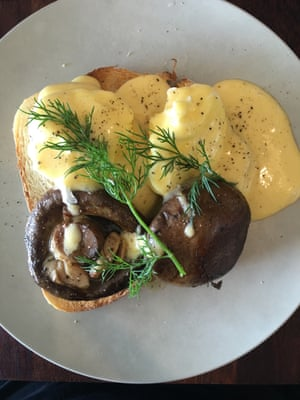 Eggs benedict served at Espresso Moto cafe and bikeworks on the Gold Coast