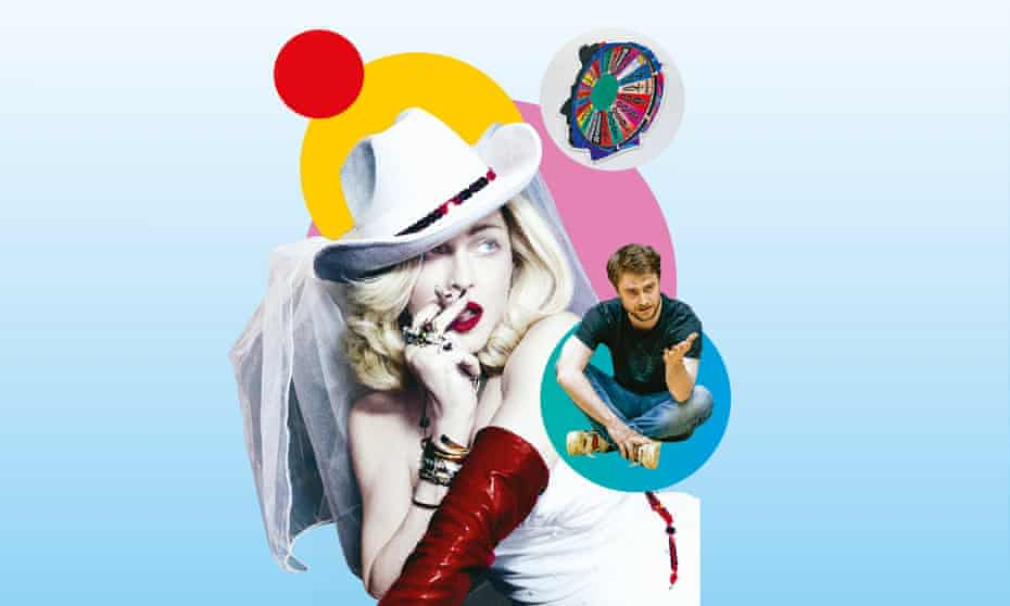 Clockwise from left: Madonna; Alex Israel's Self Portrait; Daniel Radcliffe in Endgame.