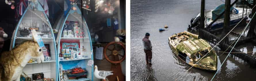 A window display in Scarborough and (r) a fisherman looks at damaged boats which are only revealed during low tide.