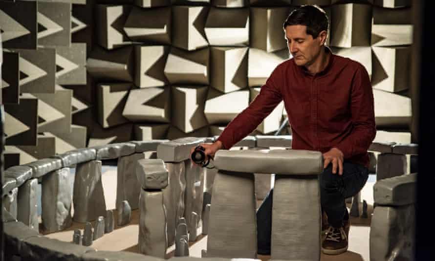 Prof Trevor Cox with the scale model of Stonehenge.