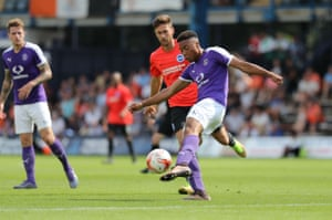 Akin Famewo during the pre-season friendly against Brighton and Hove Albion at Kenilworth Road.