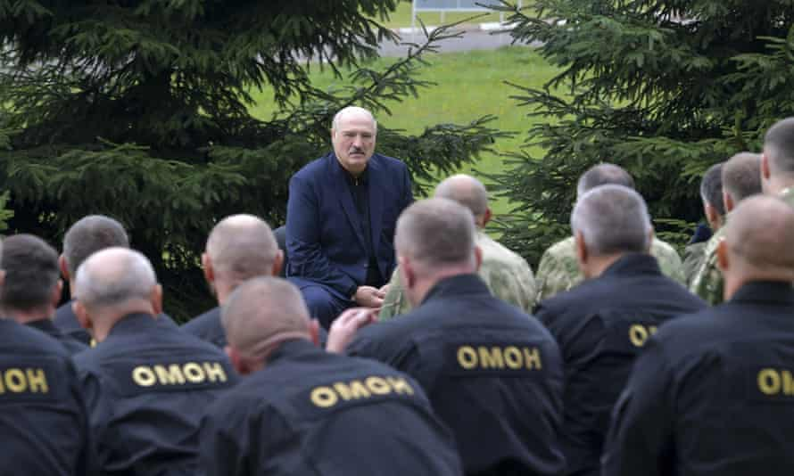 Lukashenko talks to law enforcement and other Belarusian officials in Minsk.