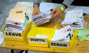 Votes are sorted into Remain, Leave and Doubtful trays