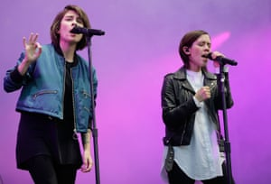 Tegan and Sara perform during Splendour in the Grass 2016 on July 24