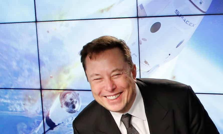 Elon Musk during a 2020 news conference for his company SpaceX.