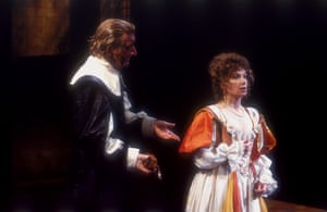 The Changeling, 1992. Directed by Michael Attenborough, set designed by Julian McGowan, costumes designed by Andreane Neofitou. The photo shows De Flores (Malcolm Storry) and Beatrice-Joanna (Cheryl Campbell).
