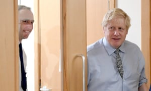 Prime Minister Boris Johnson with the health secretary, Matt Hancock, during a visit to Bassetlaw District General hospital in Worksop, Nottinghamshire.