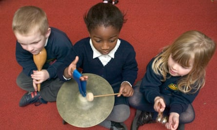 Children learning to play instruments in a school classroom