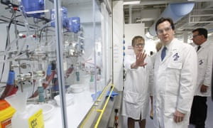 Look the other way, chancellor: George Osborne visiting a AstraZeneca site in Macclesfield last year.