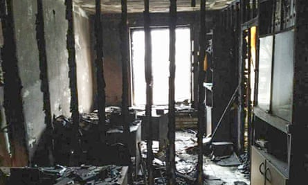 The charred offices of the human rights group Memorial in Nazran, Ingushetia.
