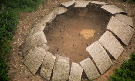 Members of on uncontacted Yanomami village
