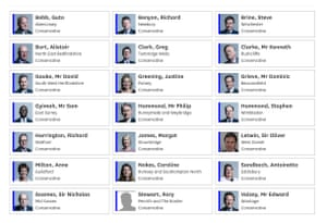 Tory MPs who voted with opposition