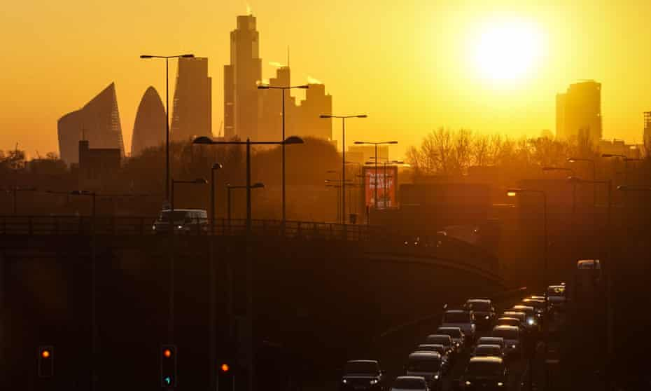 Traffic in London at sunset