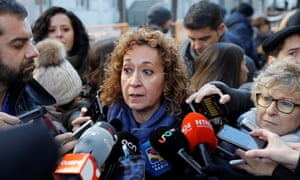 The ERC member of parliament Ester Capella speaks to the media outside court and expresses support for the former separatist leaders.