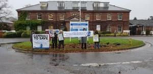 Protesters outside Hellesdon hospital.