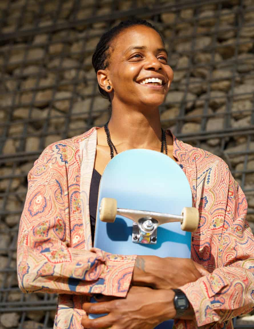 Marcia Mijnhijmer pauses for a portrait during a skate session in East London. She is part of the growing Melanin Skate Gals and Pals community