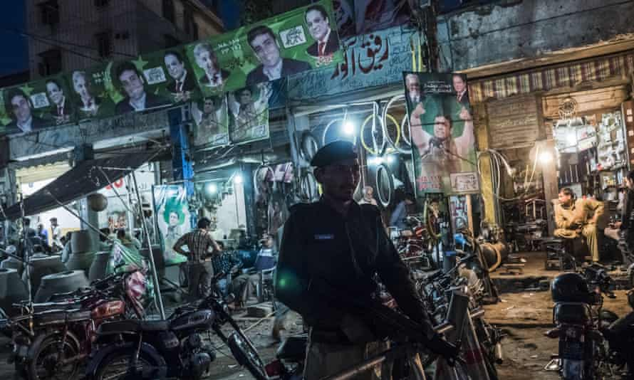 A police officer on guard in Lahore in 2013