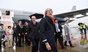 Theresa May arriving in Osaka, Japan