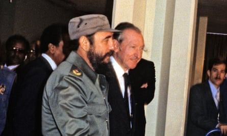 Castro is escorted by United Nations Secretary-General Kurt Waldheim, right, during his visit to address the UN General Assembly in New York in 1979.