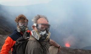 On the edge … Oppenheimer, left, and Herzog in Vanuatu.