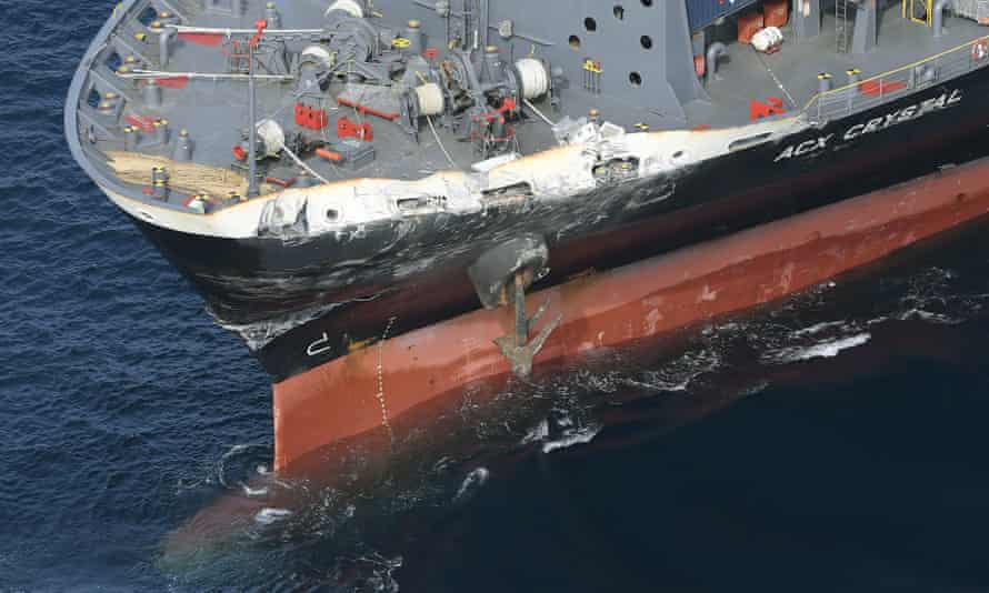 The damage of Philippine-registered container ship ACX Crystal.