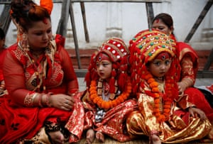 Girls are prepared for the Kumari Puja
