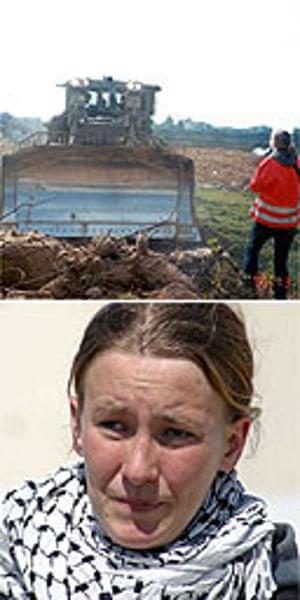 Activist Rachel Corrie (bottom, photo: Lorenzo Scaraggi/Getty), who was killed by an Israeli bulldozer on March 16 2003 (top, photo: AP)