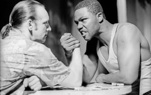 Neil Dudgeon and Nicholas Monu in Talking in Tongues in 1991 at the Royal Court, London.