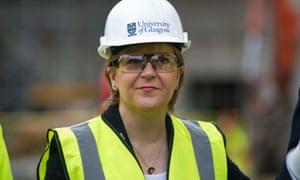 Nicola Sturgeon, visiting a construction site at Glasgow University
