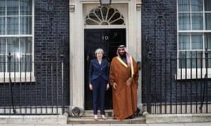 Theresa May greets the Crown Prince of Saudi Arabia Mohammad bin Salman outside 10 Downing Street.