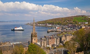 A Caledonian MacBrayne ferry arrives at Rothesay.