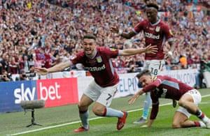 Villa's John McGinn celebrates scoring the winning goal.