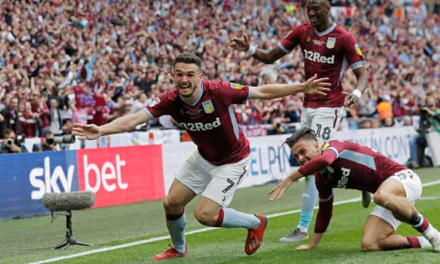 Villa's John McGinn celebrates scoring the decisive goal.