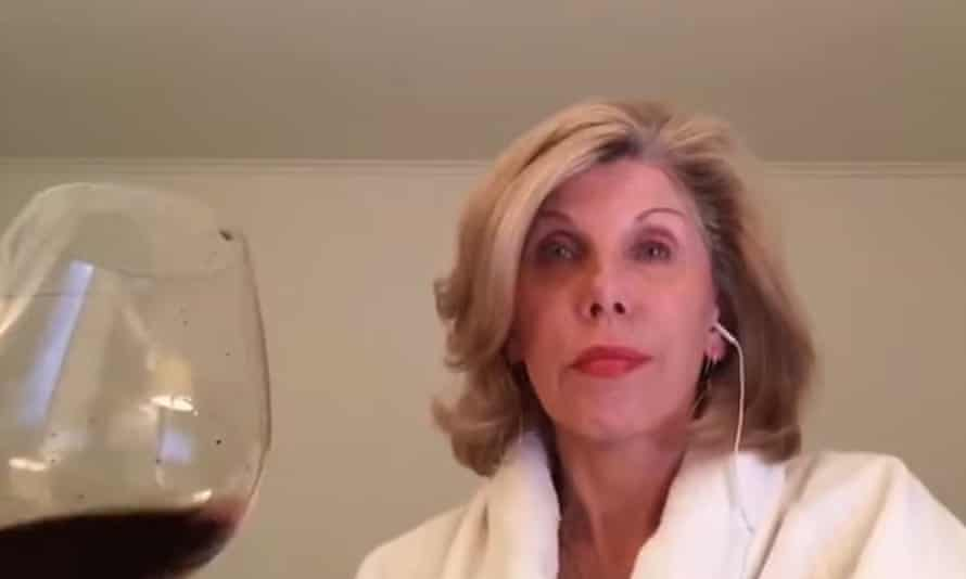 Christine Baranski and a large glass of red