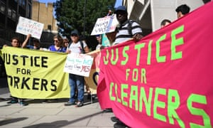 Cleaners on strike outside the Ministry of Justice in London.