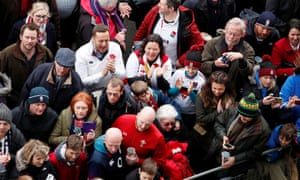 Fans gather before the England v Wales match on 7 March.