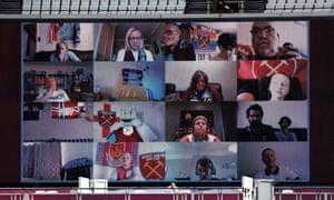 West Ham United fans watch on the big screen.
