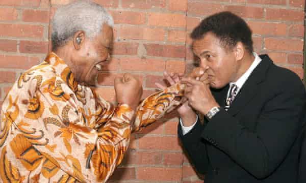 Ali meets Nelson Mandela at a dinner in Mandela's honour in New York in 2005.