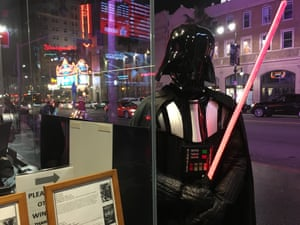 There is a Darth Vader who has spent nights sleeping on the sidewalk with a costume in a backpack.