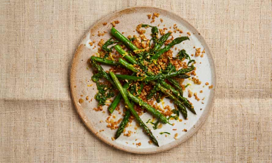 Yotam Ottolenghi's roasted asparagus with pine nuts and sourdough crumbs