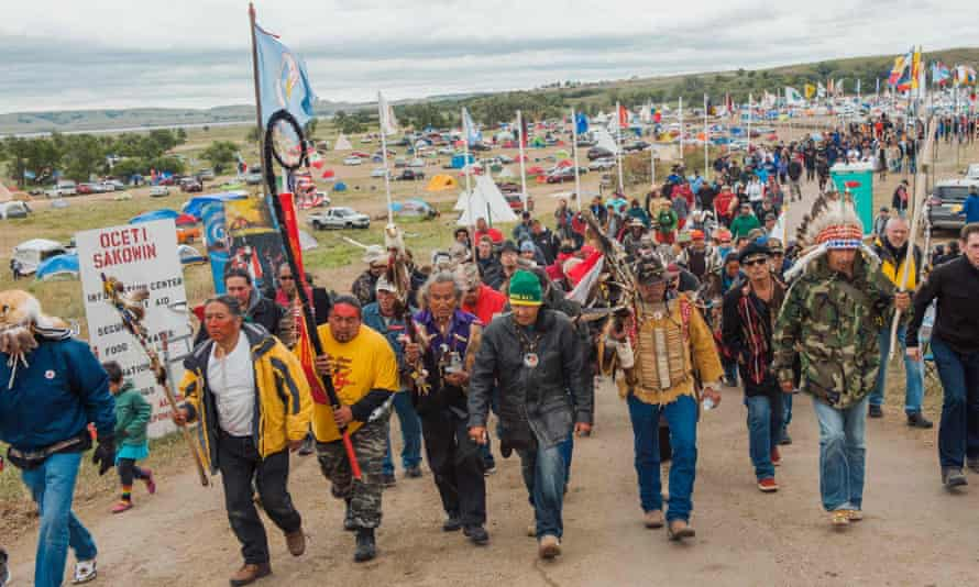 Protesters demonstrate against the Dakota Access pipeline near the Standing Rock Sioux reservation in Cannon Ball, North Dakota, in September 2016.