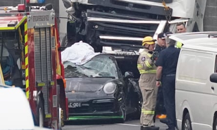 Eastern Freeway accident: Porsche driver who allegedly fled the scene has been identified as Richard Pusey.