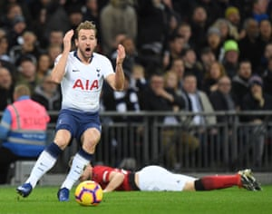 Tottenham's Harry Kane reacts after his goal is ruled offside and Manchester United win 1-0 at Wembley Stadium.