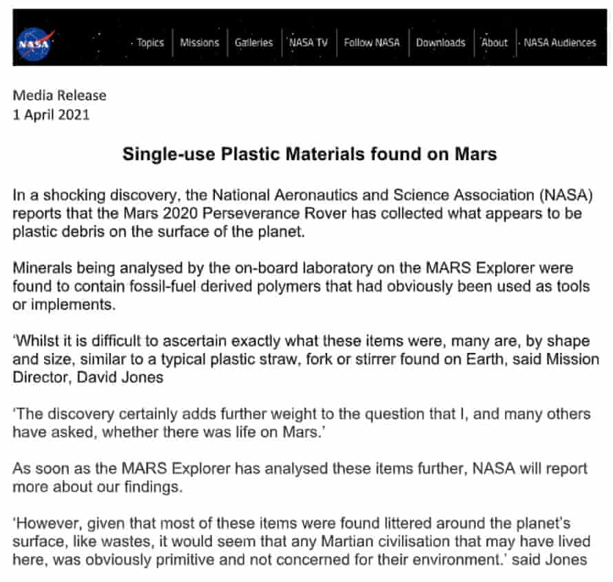 Nasa's April Fool's press release
