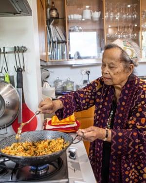 Sri Owen in her west London kitchen.