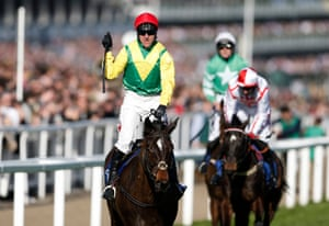 Robbie Power celebrates after winning the Coral Cup on Supasundae.